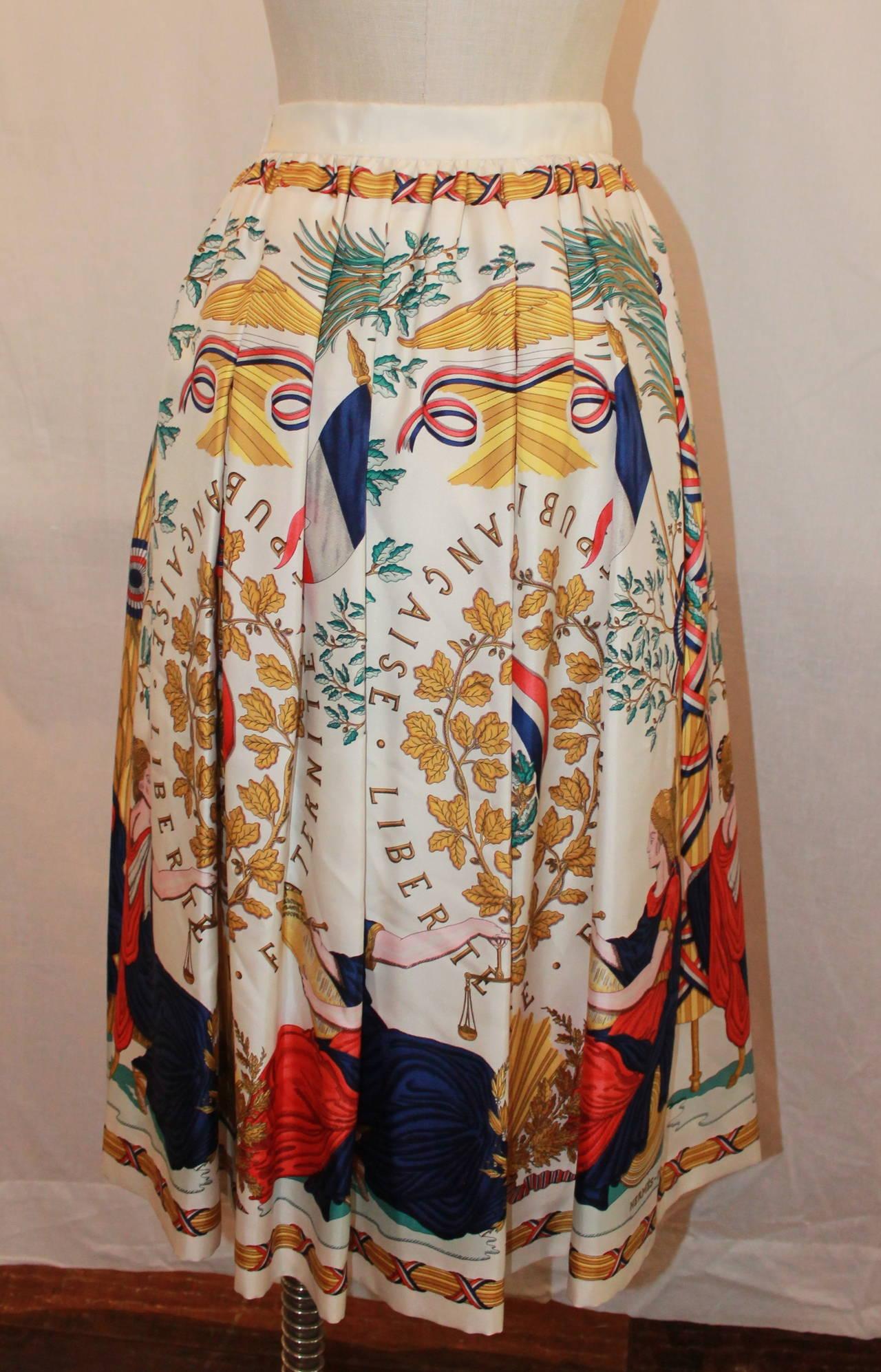 Hermes Vintage Silk Liberty Printed Skirt - circa 1990s - 34 4