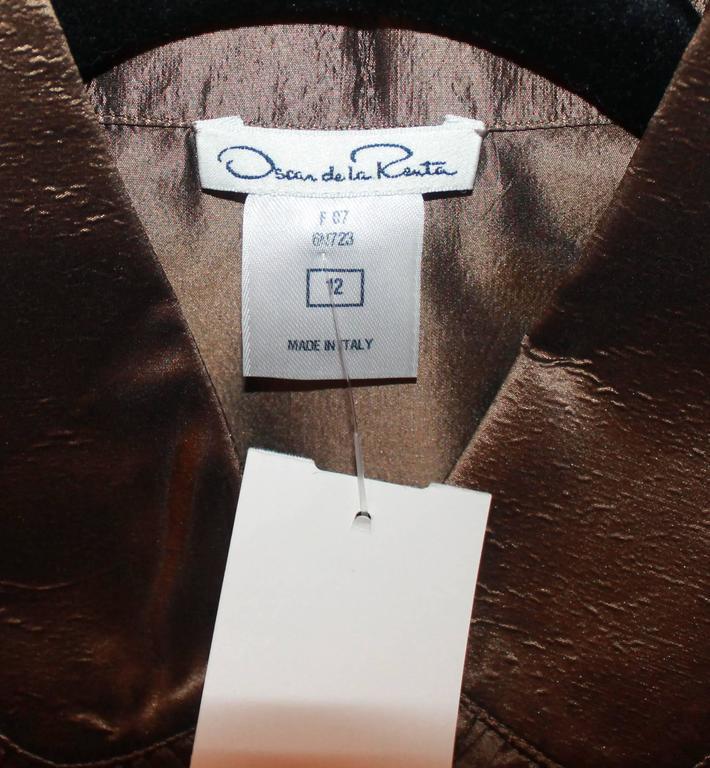 Women's Oscar de la Renta Bronze Blouse - 12 For Sale