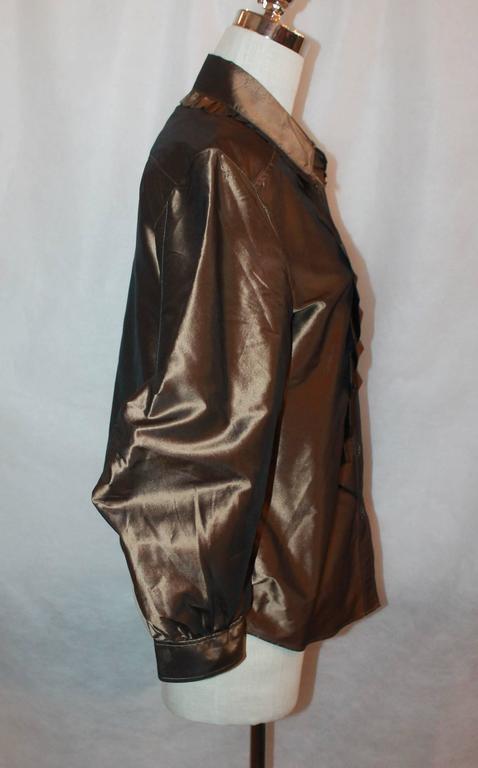 Black Oscar de la Renta Bronze Blouse - 12 For Sale