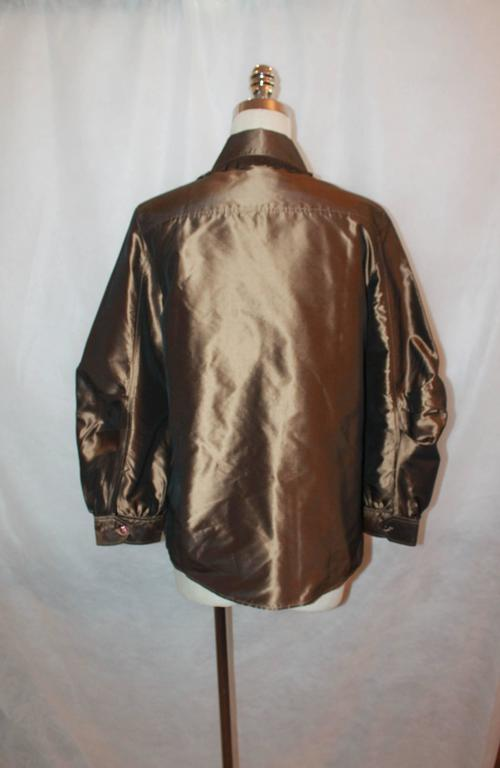 Oscar de la Renta Bronze Blouse - 12 In Excellent Condition For Sale In Palm Beach, FL