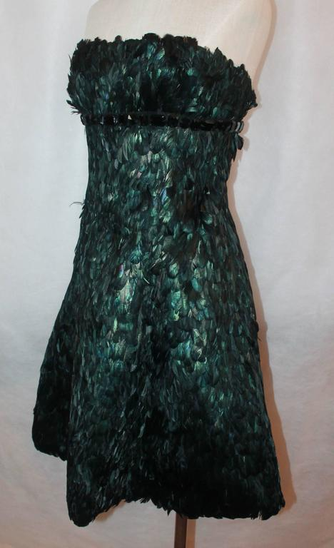 Naeem Kahn Black and Green Feathered Cocktail Dress - 6 2