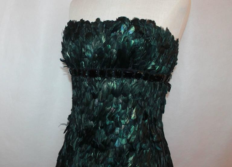 Naeem Kahn Black and Green Feathered Cocktail Dress - 6 5