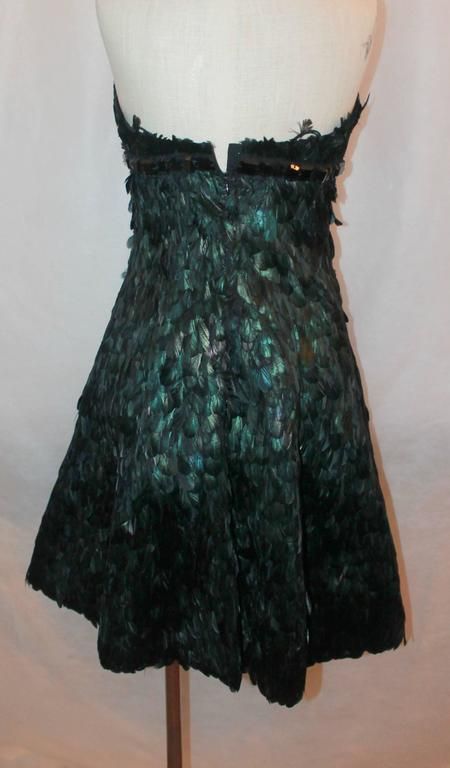 Naeem Kahn Black and Green Feathered Cocktail Dress - 6 4