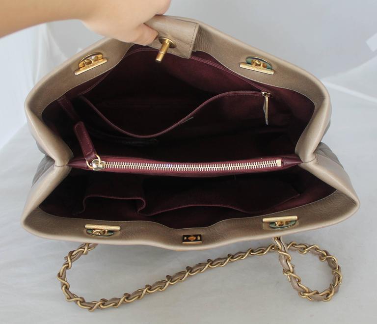 2761f76828dd0a Chanel 2013 Taupe Soft Elegance Tote Shoulder Bag - GHW For Sale 2