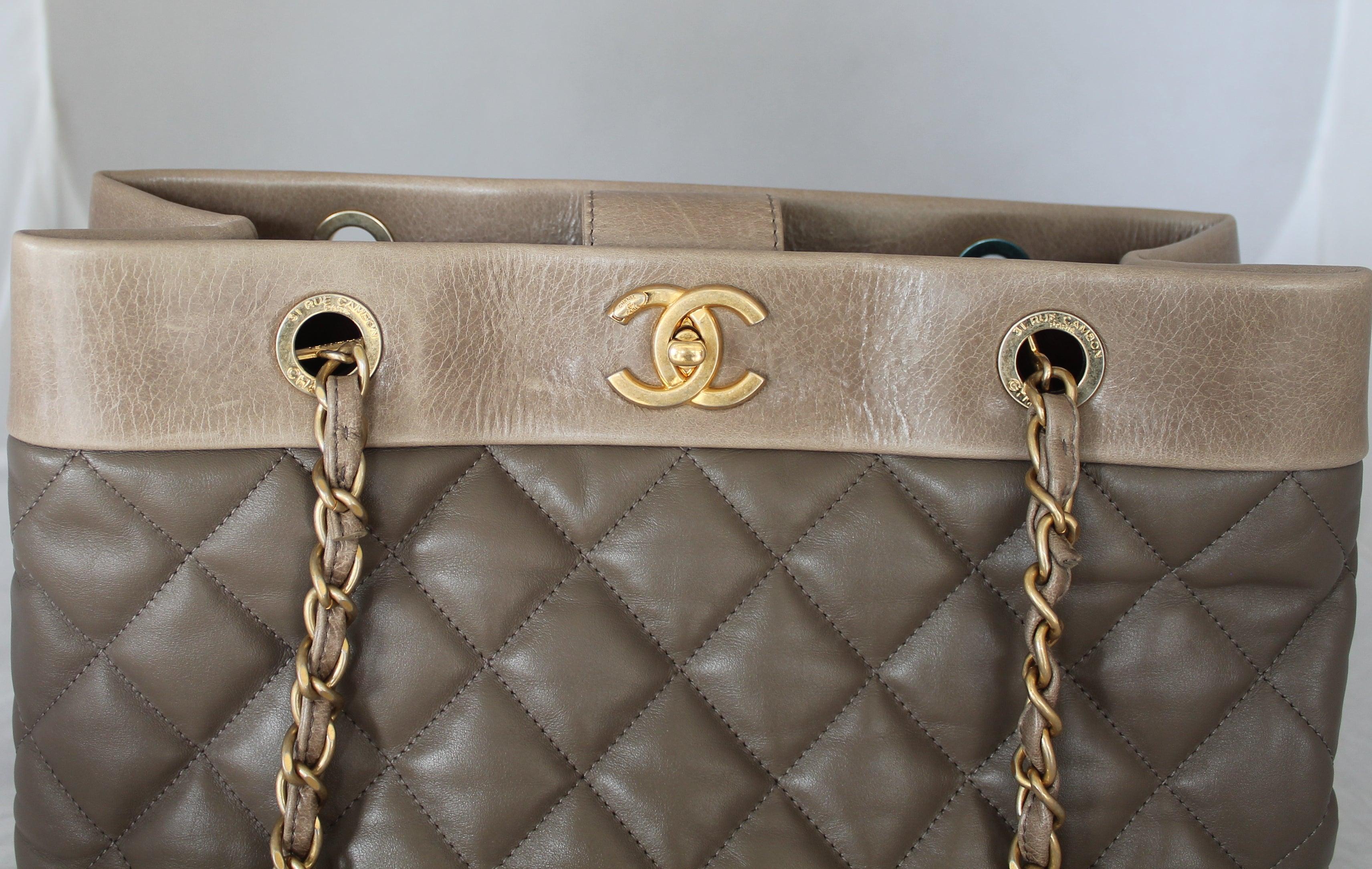 29a68ec19a674b Chanel 2013 Taupe Soft Elegance Tote Shoulder Bag - GHW at 1stdibs