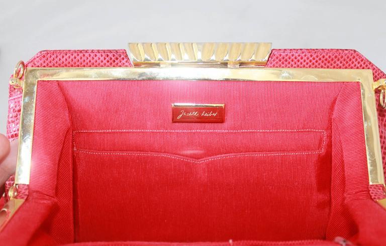 Judith Leiber 1970's Vintage Red Karung Snake Evening Bag  For Sale 3