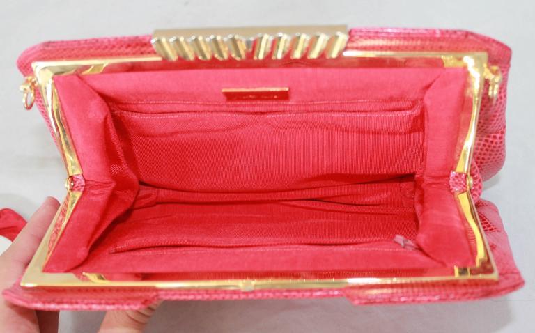Judith Leiber 1970's Vintage Red Karung Snake Evening Bag  For Sale 2