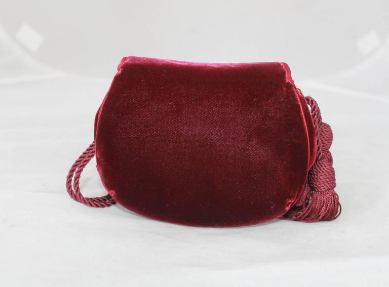 Black Judith Leiber 1990's Vintage Burgundy Velvet Small Evening Bag For Sale