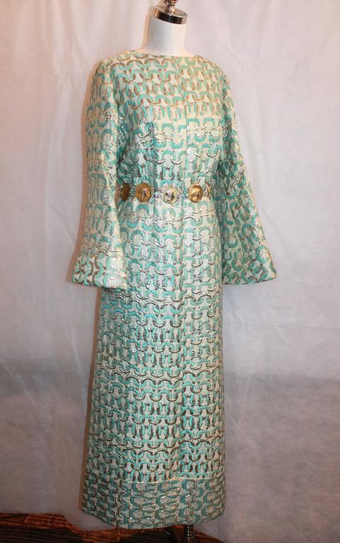 1960's Sarmi Gold & Aqua Brocade Vintage Long Sleeve Gown - L.  This gorgeous gown from the 1960's is in excellent vintage condition with only slight fade from age on the gold belt.  It features extra wide sleeves and beautiful