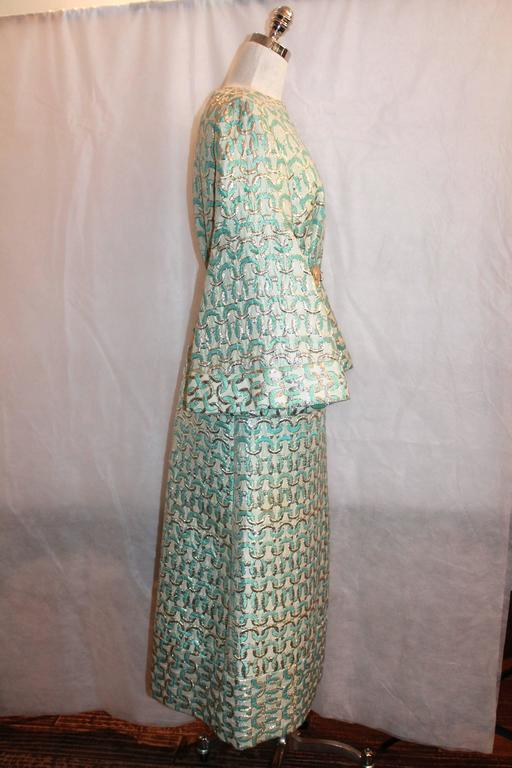 Gray Sarmi 1960's Gold & Aqua Brocade Vintage Long Sleeve Gown - L For Sale