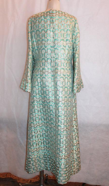 Sarmi 1960's Gold & Aqua Brocade Vintage Long Sleeve Gown - L In Excellent Condition For Sale In Palm Beach, FL