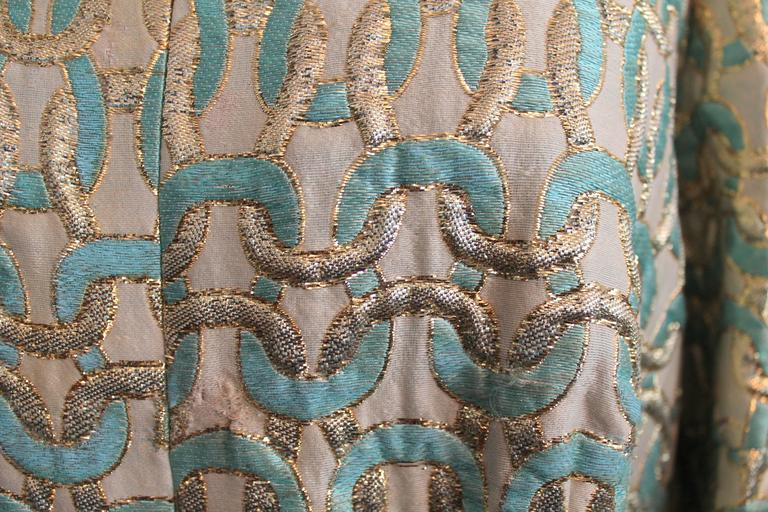 Women's Sarmi 1960's Gold & Aqua Brocade Vintage Long Sleeve Gown - L For Sale