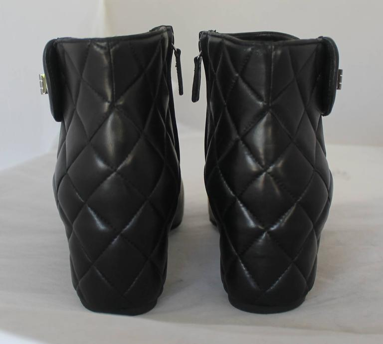 Chanel Pearlized Black Lambskin Quilted Back Bootie - 40 4