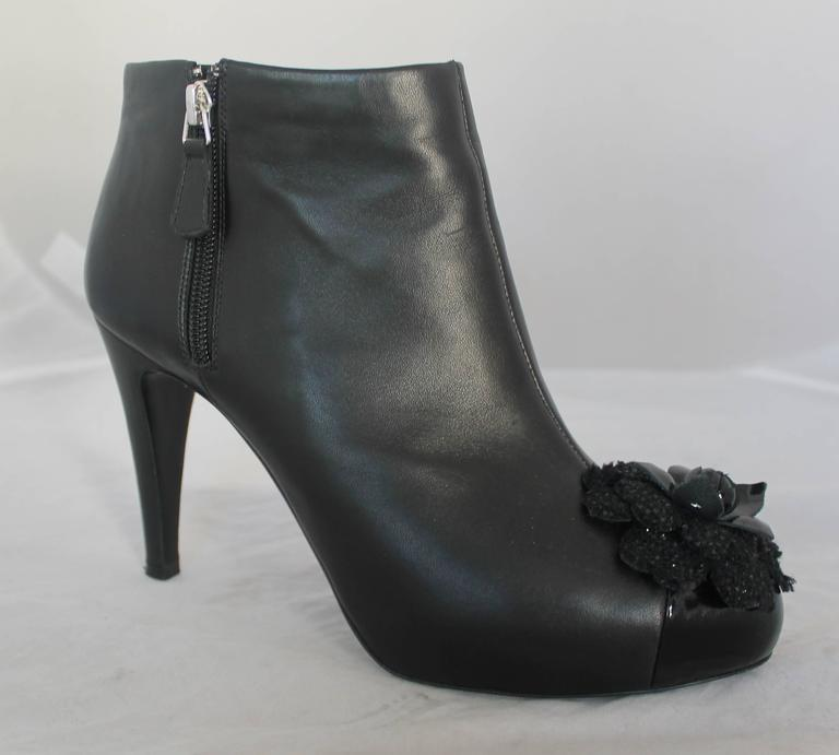 Chanel Black Leather Heeled Booties with Front Camellia - 40 2