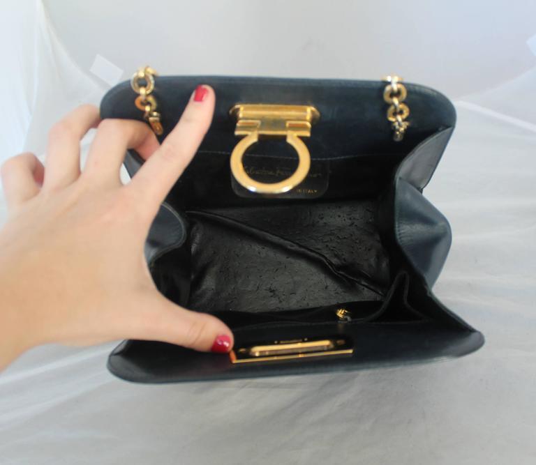 Ferragamo Navy Leather Square Clutch/Cross Body Bag - GHW - Circa 80's For Sale 1