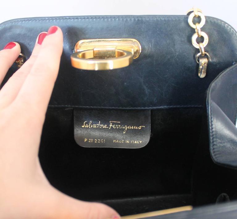 Ferragamo Navy Leather Square Clutch/Cross Body Bag - GHW - Circa 80's For Sale 2
