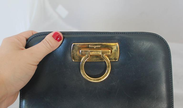 Women's Ferragamo Navy Leather Square Clutch/Cross Body Bag - GHW - Circa 80's For Sale