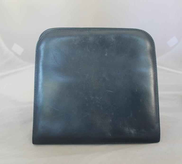 Black Ferragamo Navy Leather Square Clutch/Cross Body Bag - GHW - Circa 80's For Sale