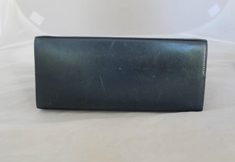 Ferragamo Navy Leather Square Clutch/Cross Body Bag - GHW - Circa 80's In Fair Condition For Sale In Palm Beach, FL