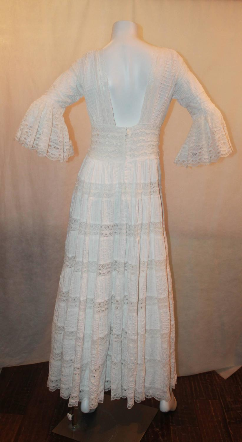 1970 39 s vintage white lace and cotton mexican wedding dress