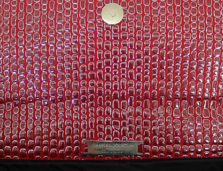 Charles Jourdan Red Embossed Patent Embossed Clutch w/ Silver Horn Handle In Excellent Condition For Sale In Palm Beach, FL