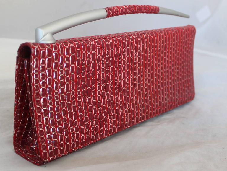 Women's Charles Jourdan Red Embossed Patent Embossed Clutch w/ Silver Horn Handle For Sale