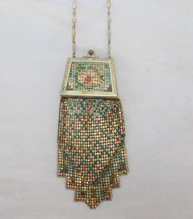 Whiting & Davis Art Deco Multi-Color Floral Mesh Bag  2