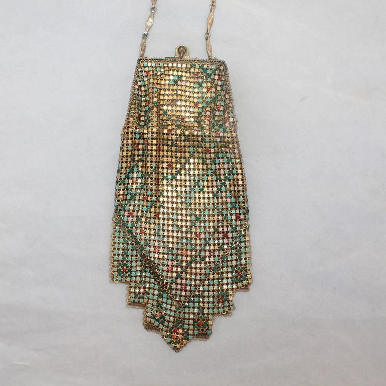 Whiting & Davis Art Deco Multi-Color Floral Mesh Bag  3