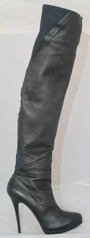 Casadei Black Leather and Neoprene Thigh-High Boots - 11 2