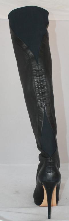 Casadei Black Leather and Neoprene Thigh-High Boots - 11 3