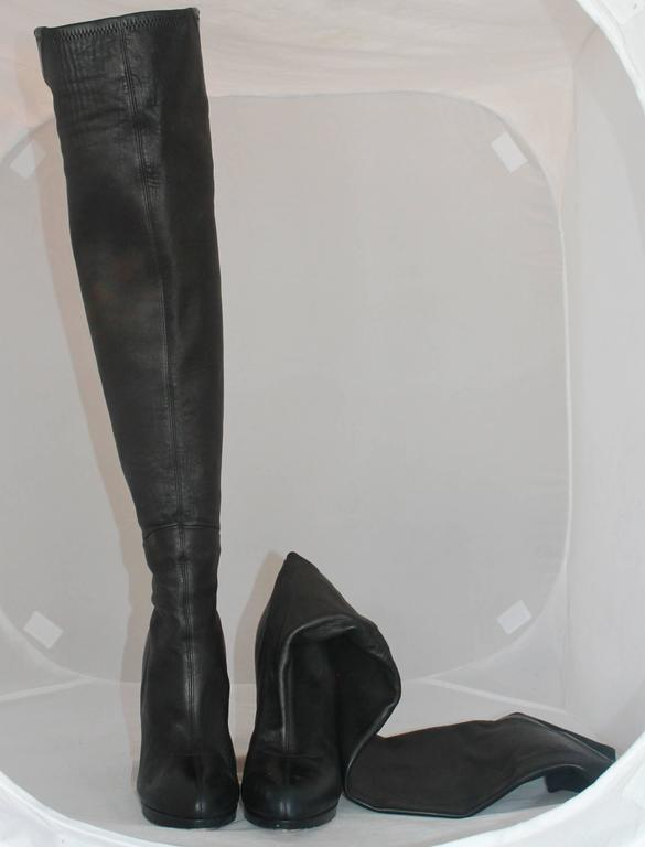 Casadei Black Leather and Neoprene Thigh-High Boots - 11 4