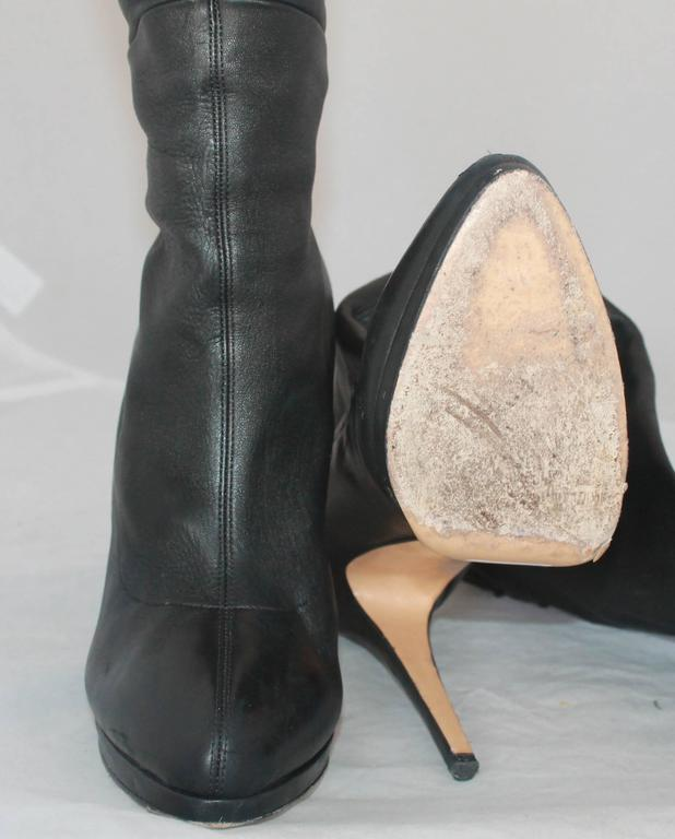 Casadei Black Leather and Neoprene Thigh-High Boots - 11 5