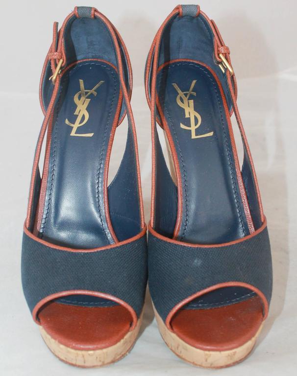 Black YSL Navy & Brown Deuville Canvas Wedge Sandals - 40.5 For Sale