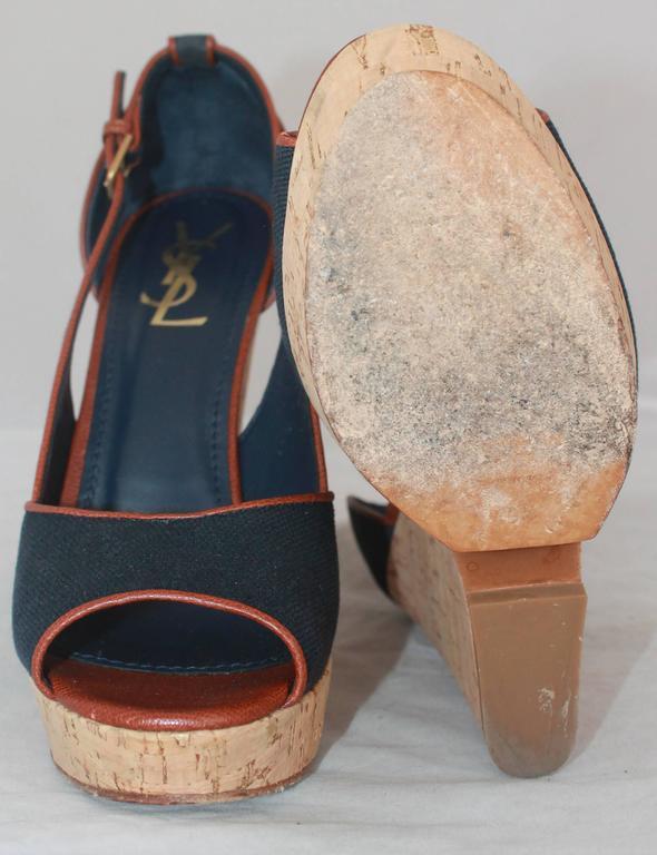 Women's YSL Navy & Brown Deuville Canvas Wedge Sandals - 40.5 For Sale
