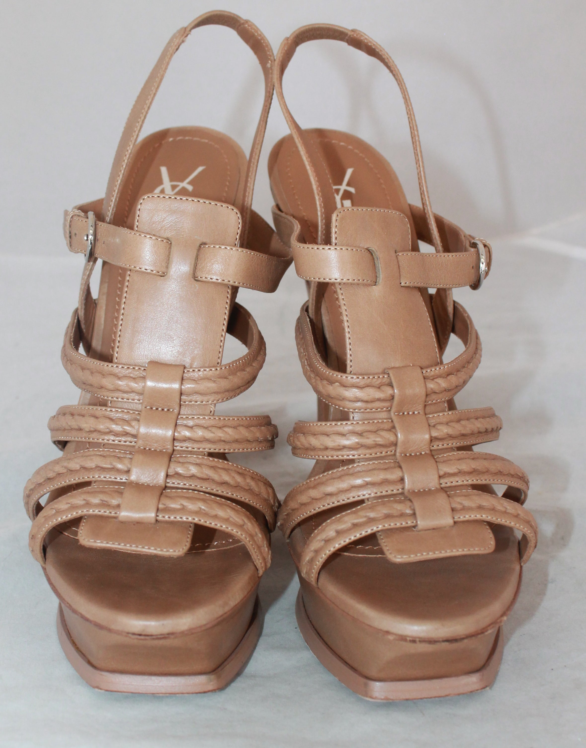 3e6055c1e90 YSL Tan Leather Strappy Platform Heel w  Slingback Strap - 41 For Sale at  1stdibs