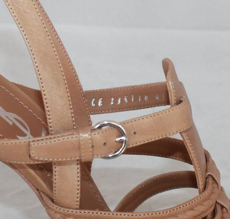0c5e5c612337 YSL Tan Leather Strappy Platform Heel w  Slingback Strap - 41 For Sale 2