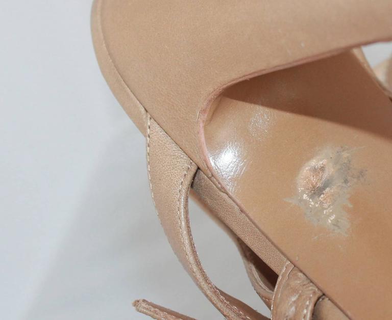 d27d63804647 YSL Tan Leather Strappy Platform Heel w  Slingback Strap - 41 For Sale 1