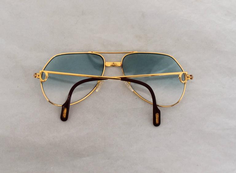 Cartier Gold Rimmed Aviator-Style Sunglasses w/ Blue Faded Lenses at ...