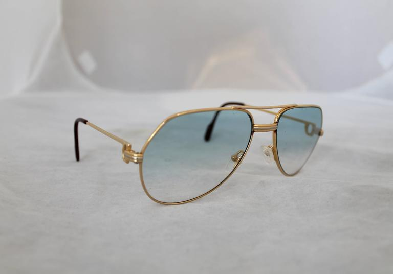 32c407964285f Cartier Gold Rimmed Aviator-Style Sunglasses w  Blue Faded Lenses. These  beautiful sunglasses