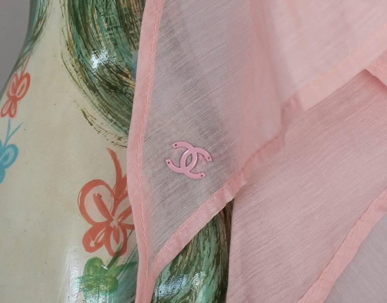 Chanel Pink Cotton Sheer Turban Hat - circa 1980's  In Excellent Condition For Sale In Palm Beach, FL