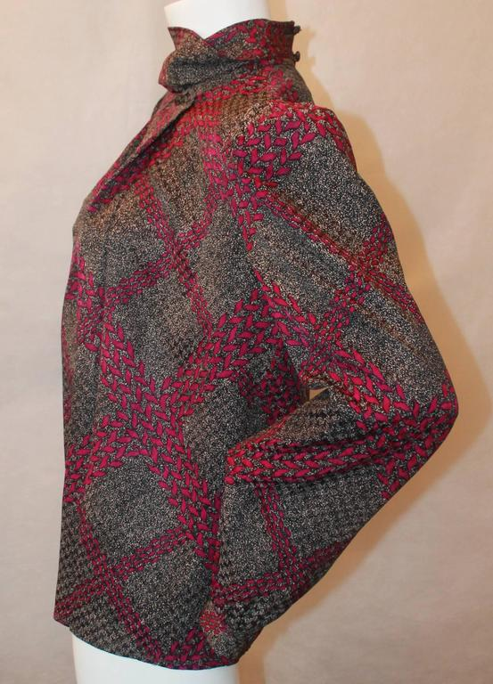 Adolfo 1970's Vintage Black & Purple Printed Long Sleeve Silk Blouse - M 3