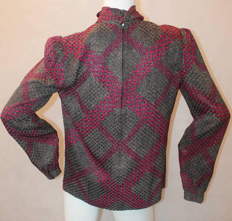 Adolfo 1970's Vintage Black & Purple Printed Long Sleeve Silk Blouse - M In Excellent Condition For Sale In Palm Beach, FL