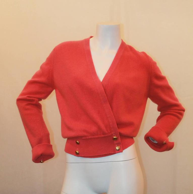 Chanel Vintage Coral Cashmere Cardigan with Cinched Bottom- circa 1980's - M 2