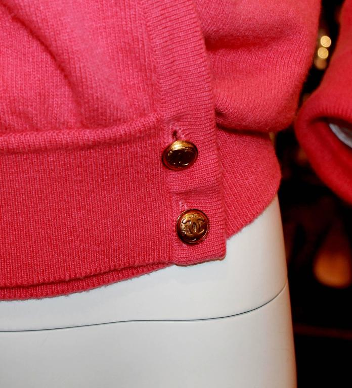 Chanel Vintage Coral Cashmere Cardigan with Cinched Bottom- circa 1980's - M 5