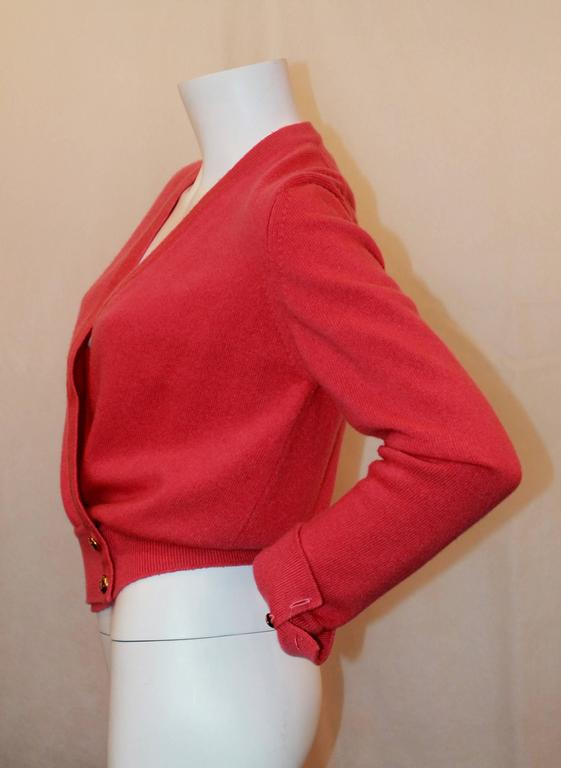 Chanel Vintage Coral Cashmere Cardigan with Cinched Bottom- circa 1980's - M 3