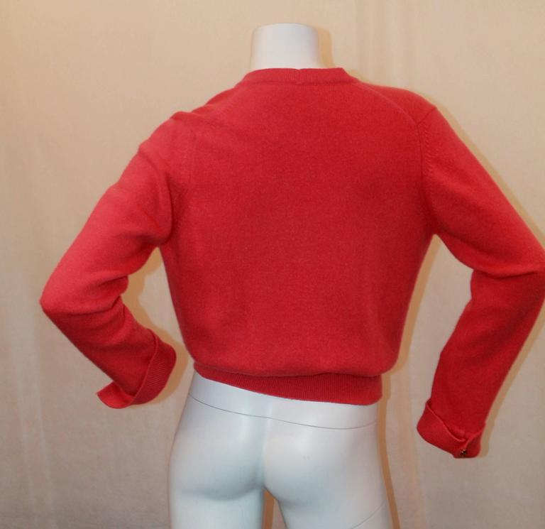 Chanel Vintage Coral Cashmere Cardigan with Cinched Bottom- circa 1980's - M 4