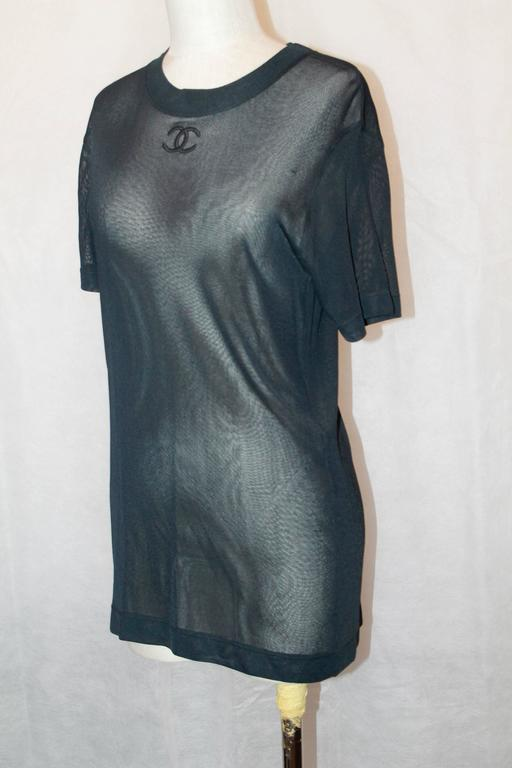 "Chanel Vintage Black Mesh Jersey Short Sleeve Top w/ ""CC"" Logo - 40 2"
