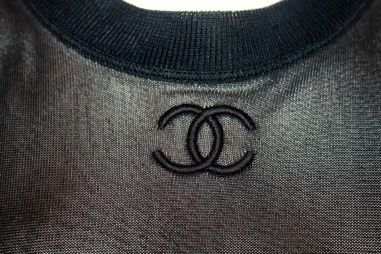 "Chanel Vintage Black Mesh Jersey Short Sleeve Top w/ ""CC"" Logo - 40 5"