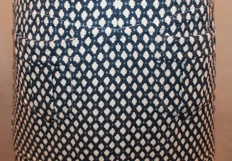 Chanel Navy & White Tweed Sleeveless Shift Dress with Front Zipper & Pockets - 4 For Sale 1