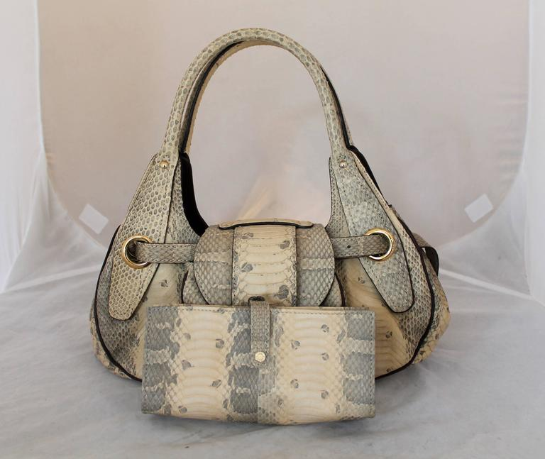 Jimmy Choo Beige Python Small Shoulder Bag